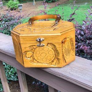 Handbags - Vintage Hand Carved Wooden Turtle Purse or Makeup